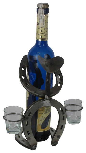 Horseshoe Bowlegged Cowboy With Hat Double Shot Glass Holder Wine