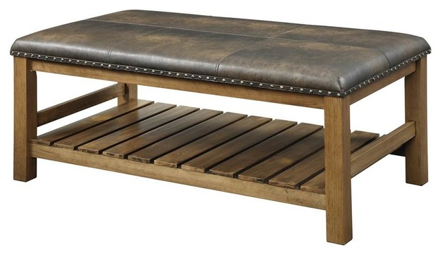 Tucson Ottoman Bench, Walnut Finish. -1