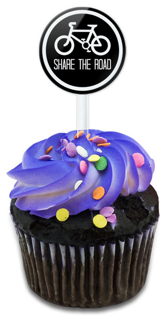 My Road Share The Road Black Cupcake Toppers Picks Set.