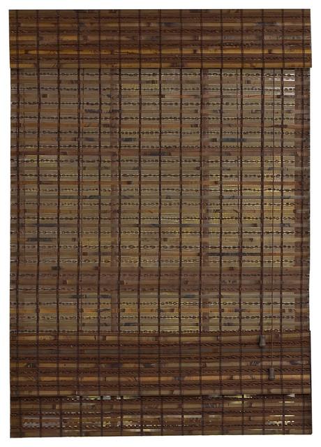"Radiance Havana Cocoa Woven Wood Bamboo Roman Shade 46""x64""."