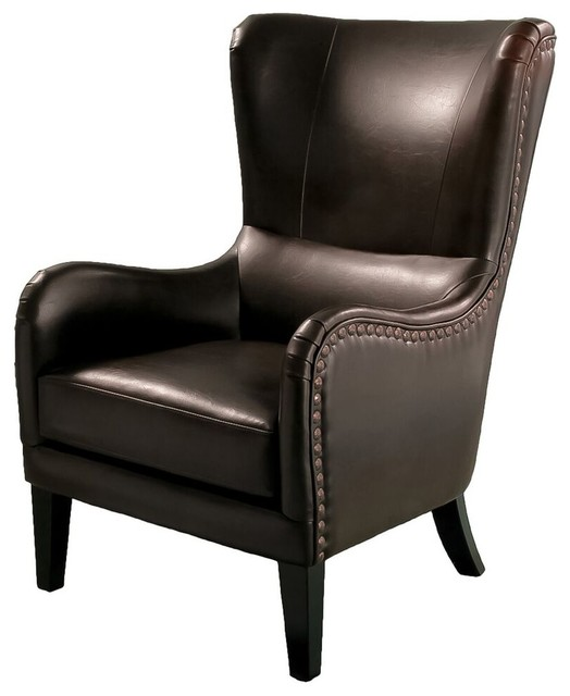 Charmant Salerno Leather Studded High Back Club Chair, Chocolate Brown