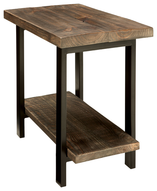 Pomona End Table, Rustic Natural Industrial Side Tables And End