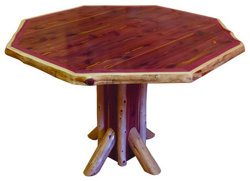 Rustic Red Cedar Log Octagon Dining Set Table And 4 Chairs