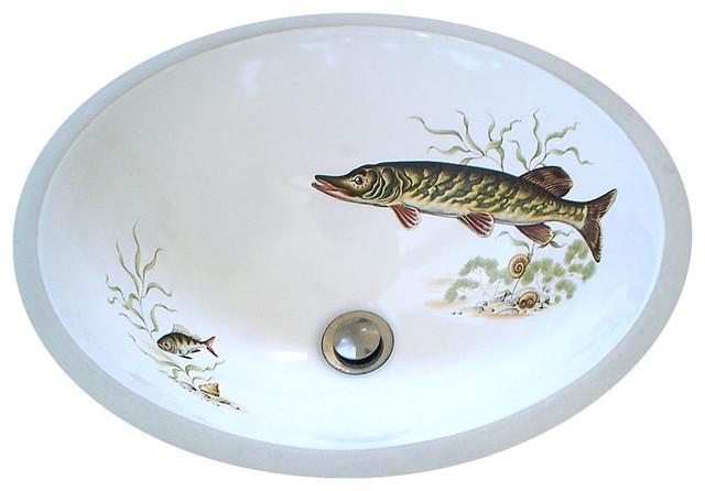 Muskie Lodge Design Hand Painted Sink Rustic Bathroom Sinks