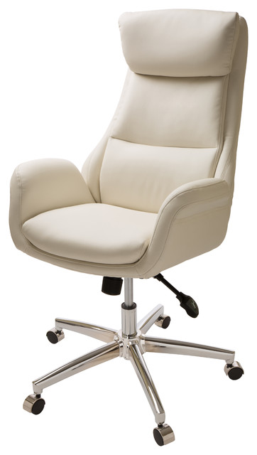 Glitzhome Cream Leather Office Chair