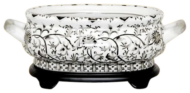 Chinese Black And White Porcelain Foot Bath Basin Pot