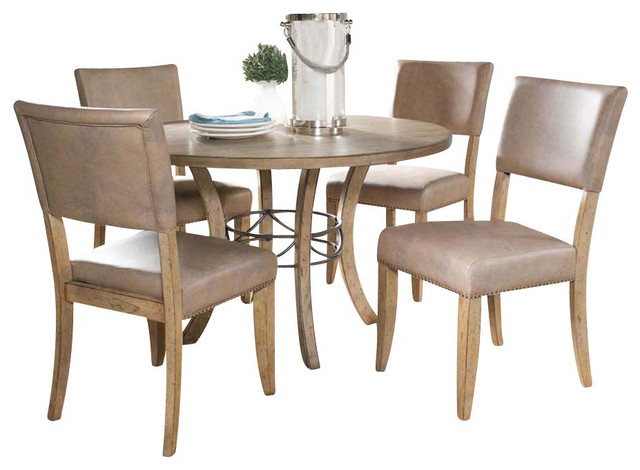 Charleston 5 Piece Round Wood Base Dining Set With Parson Chair Farmhouse  Dining
