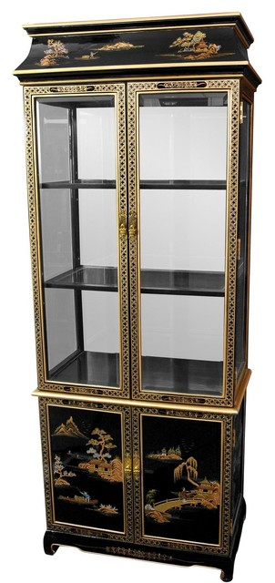 Ming Paa Top Curio Cabinet With Hand Painted Oriental Landscape