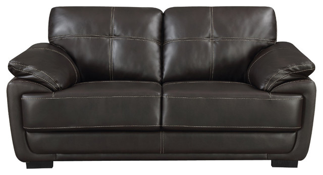 Awe Inspiring Contemporary Black Leatherette Love Seat With Double Stitch Contrast Black Gamerscity Chair Design For Home Gamerscityorg