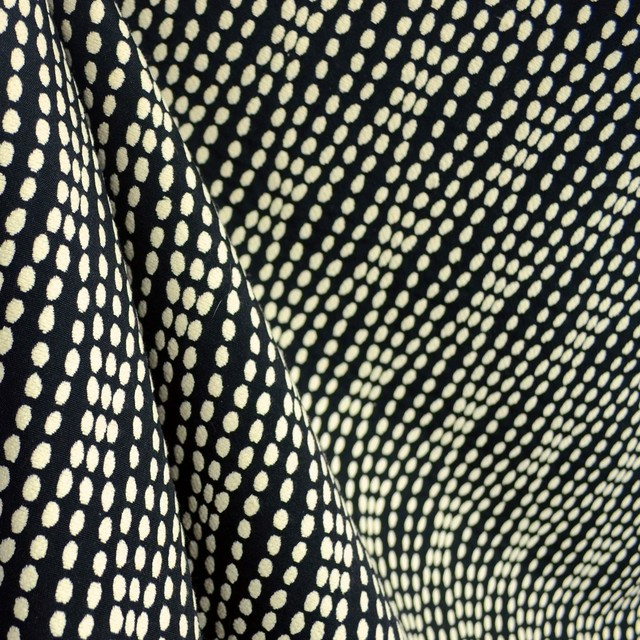 Strands Tuxedo Polka Dot Wavy Striped Black White Upholstery Fabric
