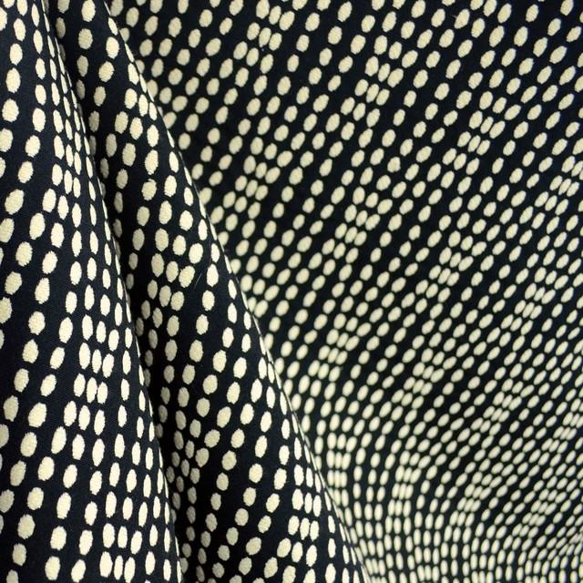 Strands Tuxedo Polka Dot Wavy Striped Black White Upholstery Fabric Traditional Drapery Fabric