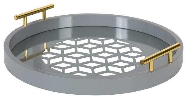 "Caspen Round Decorative Tray, Gray 15.5"" Diameter"