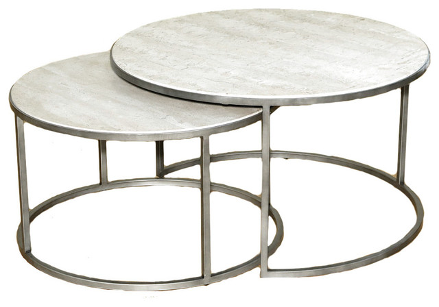 Hammary Silver Metal Round Nesting Coffee Tables Travertine Top Set Of 2 Contemporary