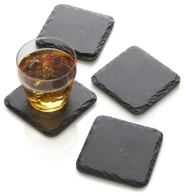 Slate Coasters, Square, Set Of 4.