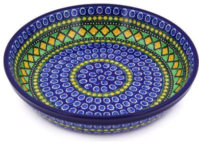 "Polish Pottery 10"" Stoneware Pie Dish Hand-Decorated Design."