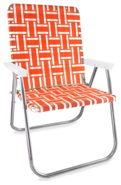 Stripe Magnum Chair, Orange And White.