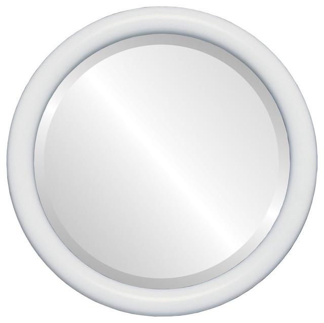 Pasadena Framed Round Mirror In Linen White 15 X15