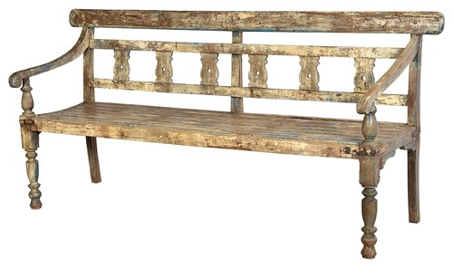 80L Ines Bench Hand Crafted Old Teak Wood One of a Kind Distressed Paint