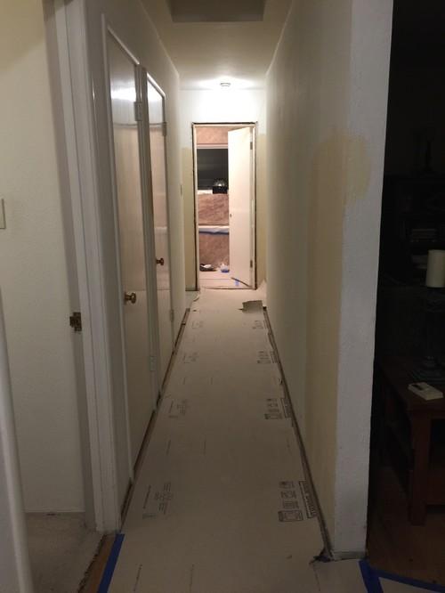 & painting doors in hallway