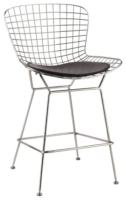 Wire Counter Height Chair Black Contemporary Bar