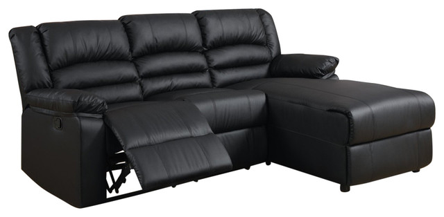 Bonded Black Leather Sectional Sofa With Recliner