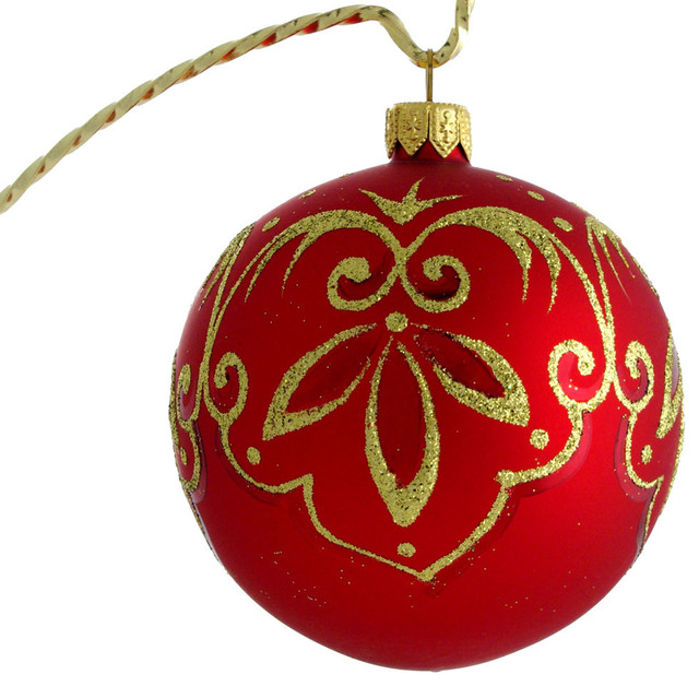Classic Hand Painted Glass Christmas Ornament Red Traditional