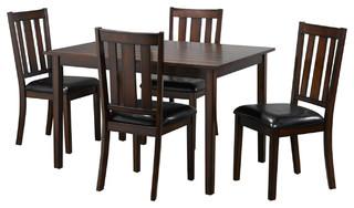 Candace & Basil San Francisco 5-Piece Kitchen Set, Table + 4 Chairs, Walnut