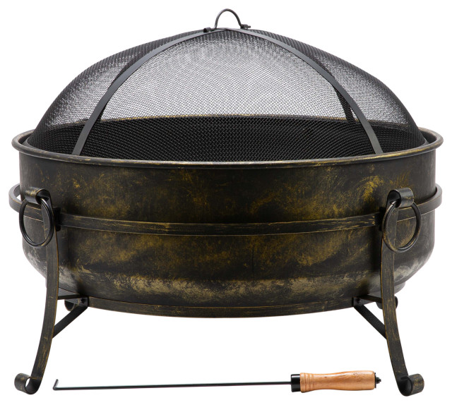 """31"""" Outdoor Wood Burning Fire Pit Cauldron With Metal Grate, Screen, Poker"""