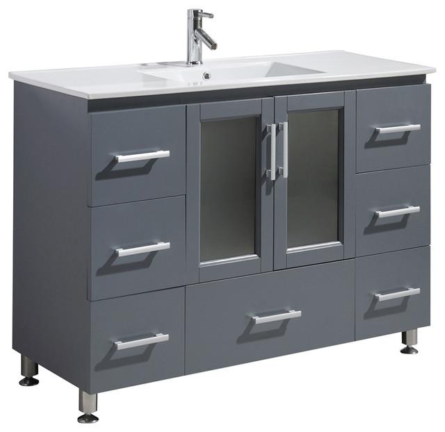 "Stanton 48"" Single Sink Vanity Set, Gray."