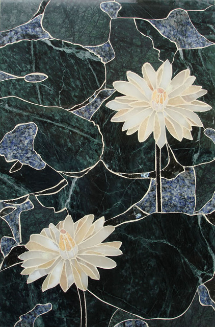 Handcrafted Marble Mural Water Lotus Backsplash