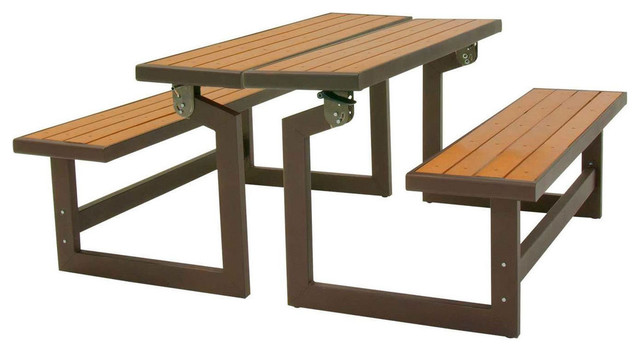 fastfurnishings metal and wood park style bench for