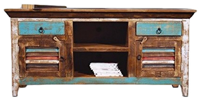 reclaimed solid wood tv console beach style entertainment centers and tv - Painted Tv Consoles