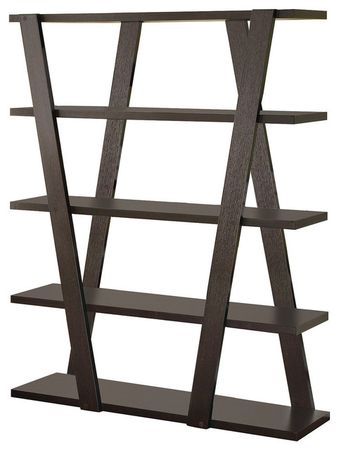 Bookcase With Inverted Supports And Open Shelves, Brown.