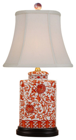 Floral Vines Porcelain Table Lamp, Orange and White