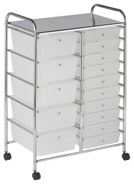 15-Drawer Mobile Organizer, White