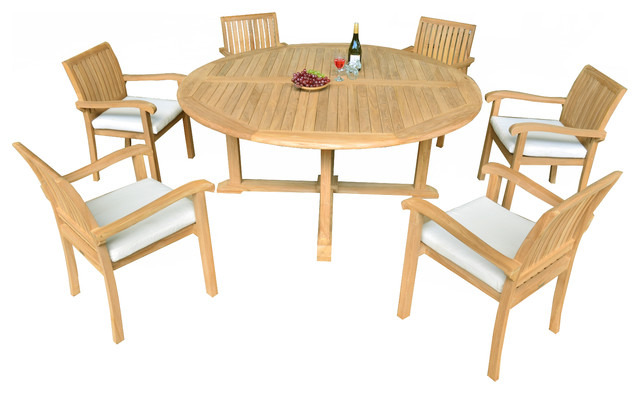7Piece Outdoor Patio Teak Dining Set 72 Round Table 6 Nain