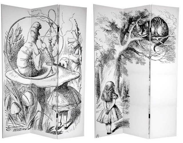 tall double sided alice in wonderland canvas room divider screensand