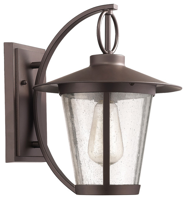 Caradoc 1-Light Rubbed Bronze Outdoor Wall Sconce 12 High.