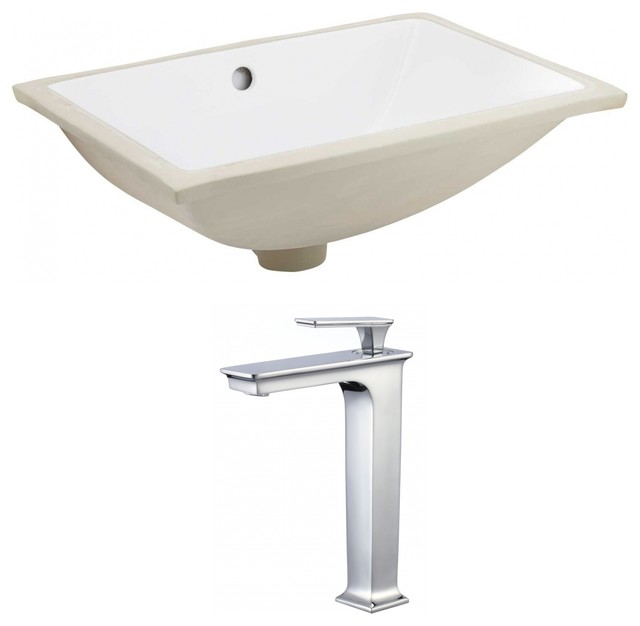"Rectangle Undermount Sink Set White/chrome With Cupc Faucet 20.75""."