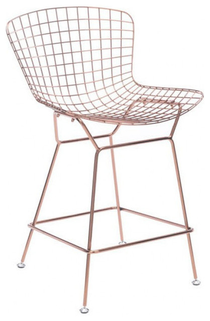 Zuo 100363 Wire Counter Chair Chromed Steel, Rose Gold