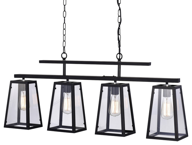 4-Light Antique Black Linear Island Chandelier With Clear Glass Shades Farmhouse