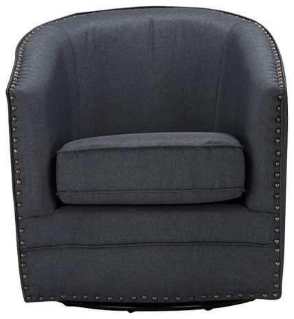 Porter and Classic Retro Beige Fabric Upholstered Swivel Tub Chair, Gray by Baxton Studio