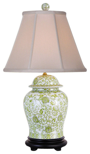 Green And White Fl Pattern Porcelain Temple Jar Table Lamp 29