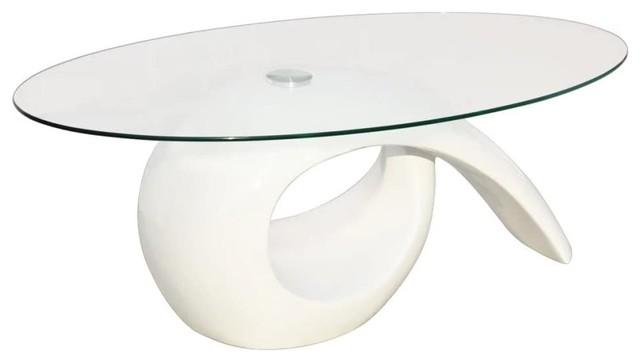 Vidaxl Coffee Table With Oval Gl Top High Gloss