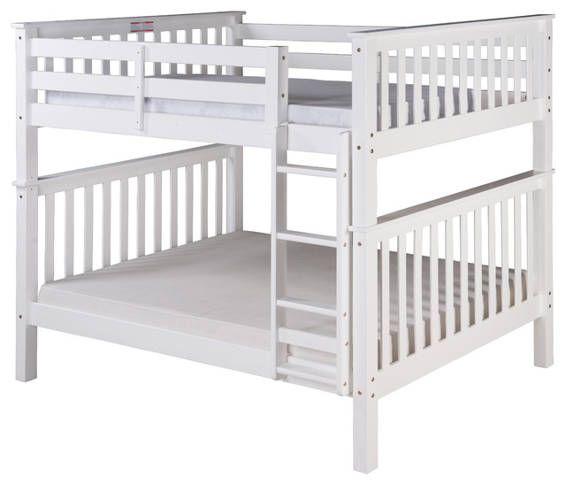 Santa Fe Mission Tall Bunk Bed Full Over Full, Attached Ladder, White.