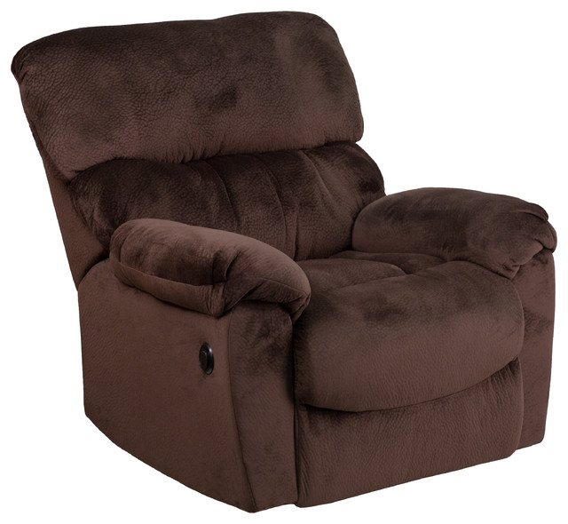 Sharpei Power Recliner With Push Button, Chocolate Contemporary Recliner  Chairs
