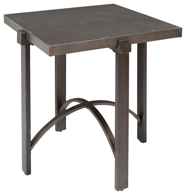 Lewis End Table With Square Metal Top.