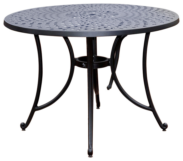Round 42 Inch Cast Aluminum Outdoor Dining Table In Charcoal Black Traditional Outdoor Dining Tables By Hilton Furnitures