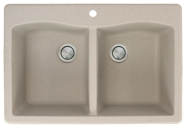 "Aversa 33""x22""x9.5"" Granite Double Drop Kitchen Sink, 1 Faucet Hole, Cafe Latte."