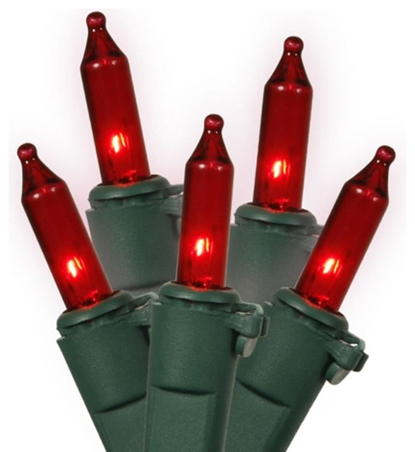 Red Mini Christmas Lights, Green Wire, Set Of 35.
